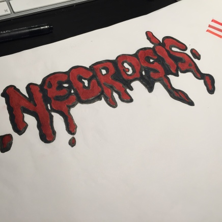 Sketching and Colouring in Necrosis design typeface
