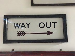 c1932-1939 Way Out sign was only in use up to the Second World War, Johnston Typeface -