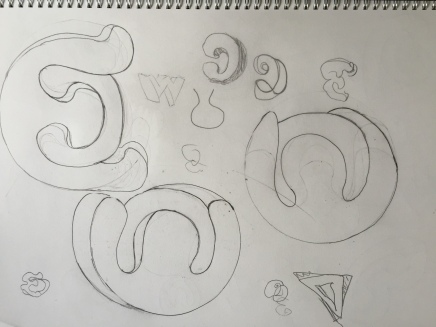 Hand drawing thinking about monogram image